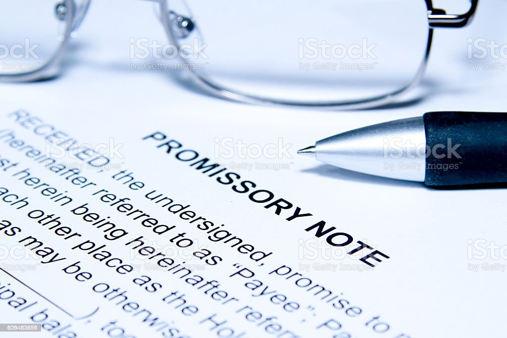 Promissory Note Blue stock photo