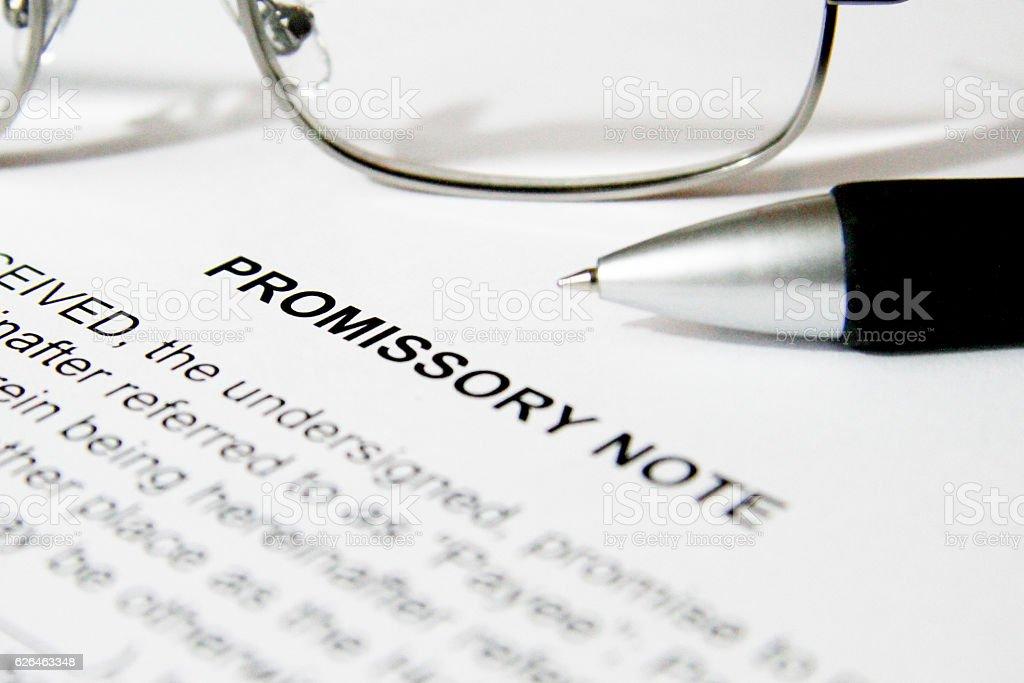 Promissory Note Document stock photo