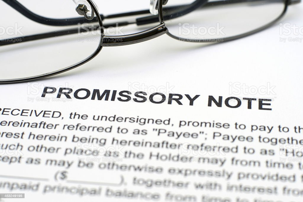 Promissory note royalty-free stock photo