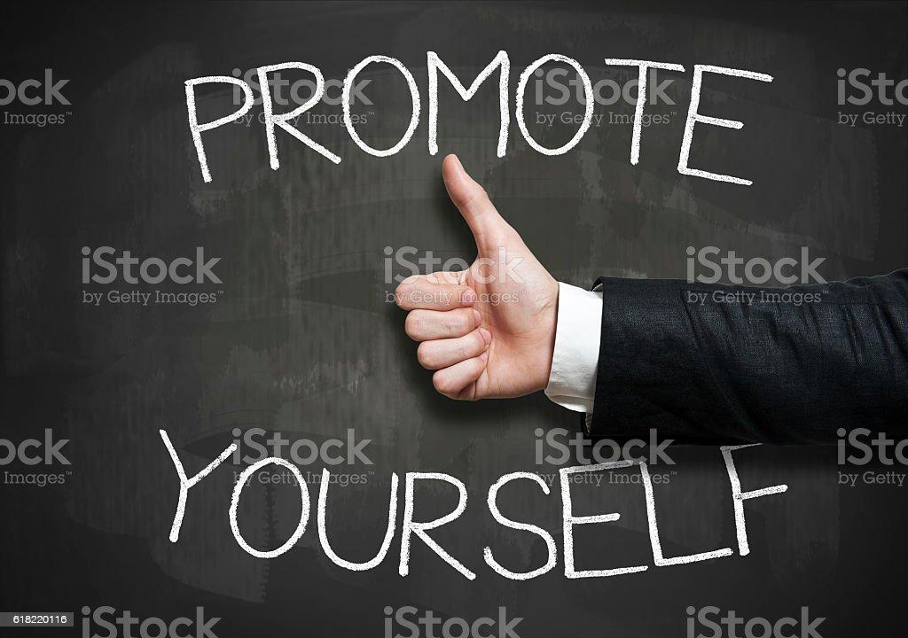 Promote yourself / Blackboard concept (Click for more) stock photo
