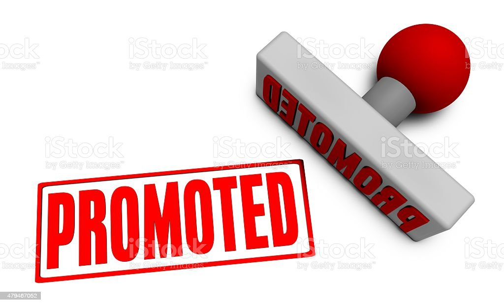Promoted Stamp stock photo