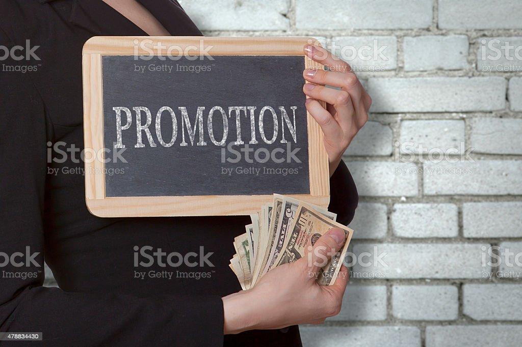 Promotion black board stock photo
