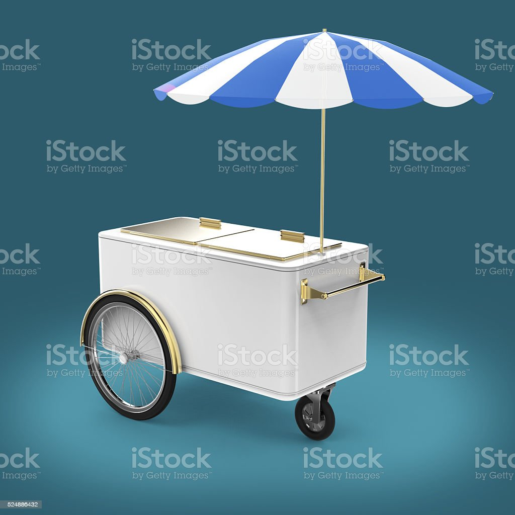 Promotion counter on wheels with umbrella, food, ice cream, hot stock photo