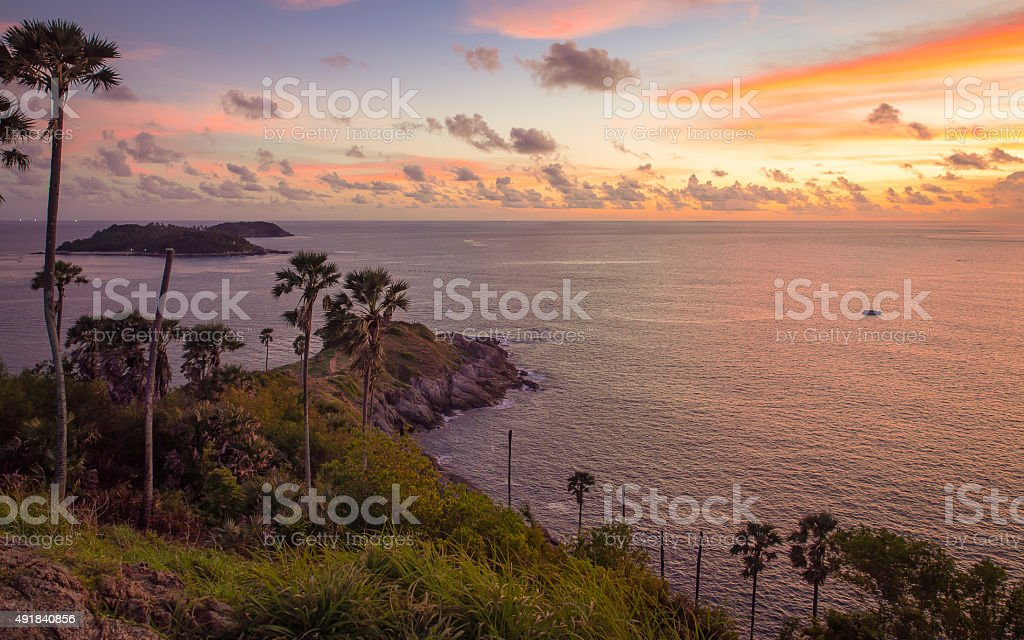 Promthep Cape, Phuket province of Thailand stock photo