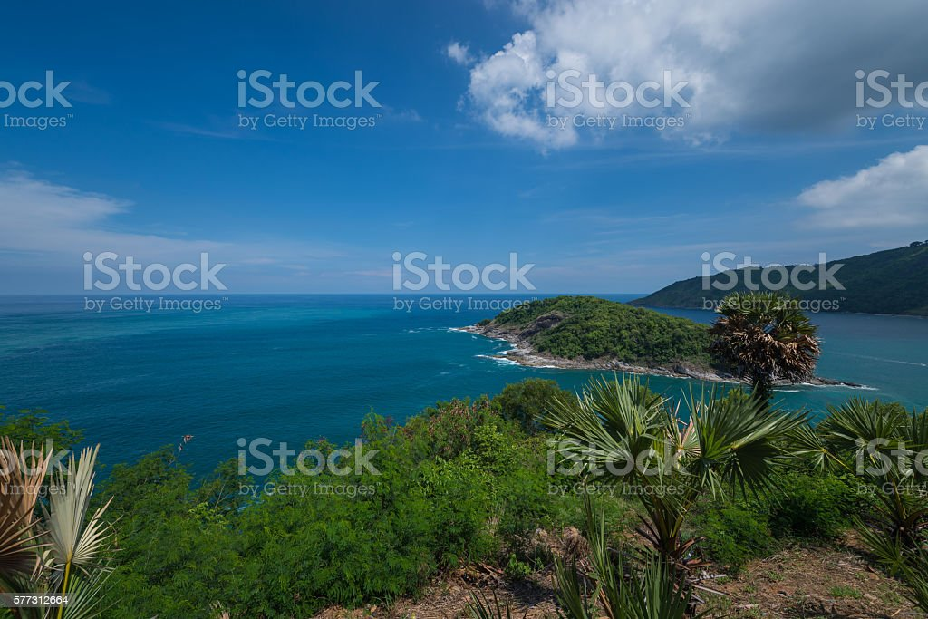 Promthep Cape the attractions of Phuket stock photo