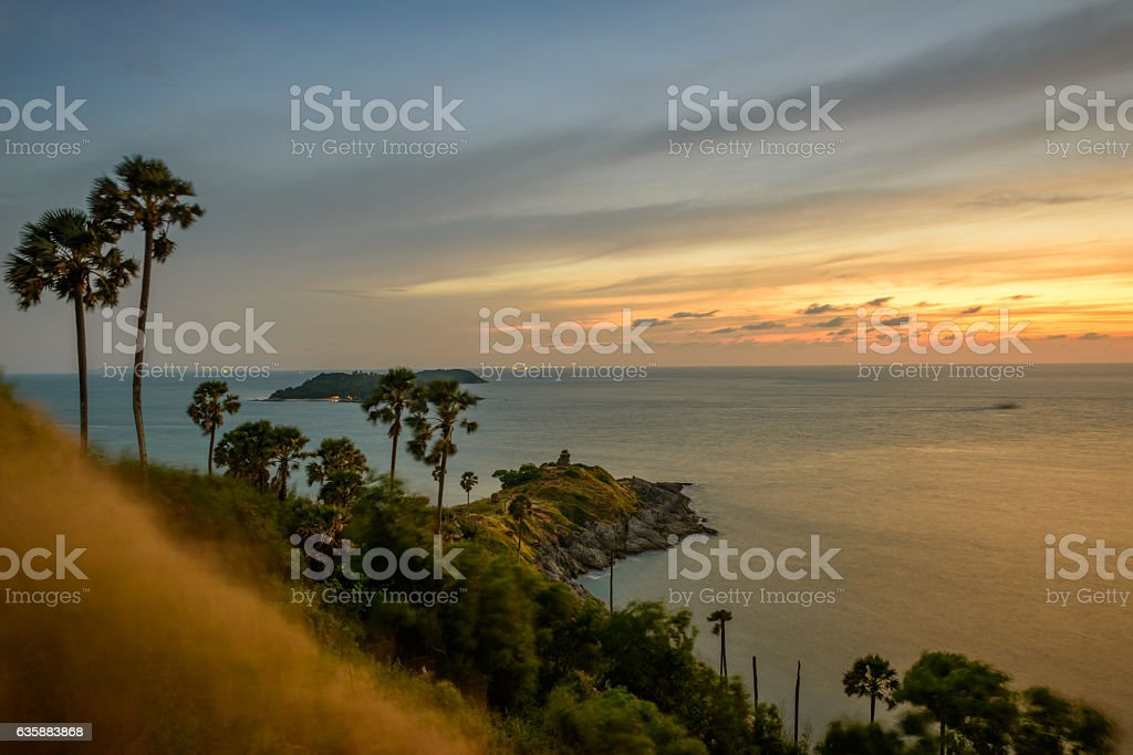 Promthep cape, the place to see sunset at Phuket, Thailand stock photo