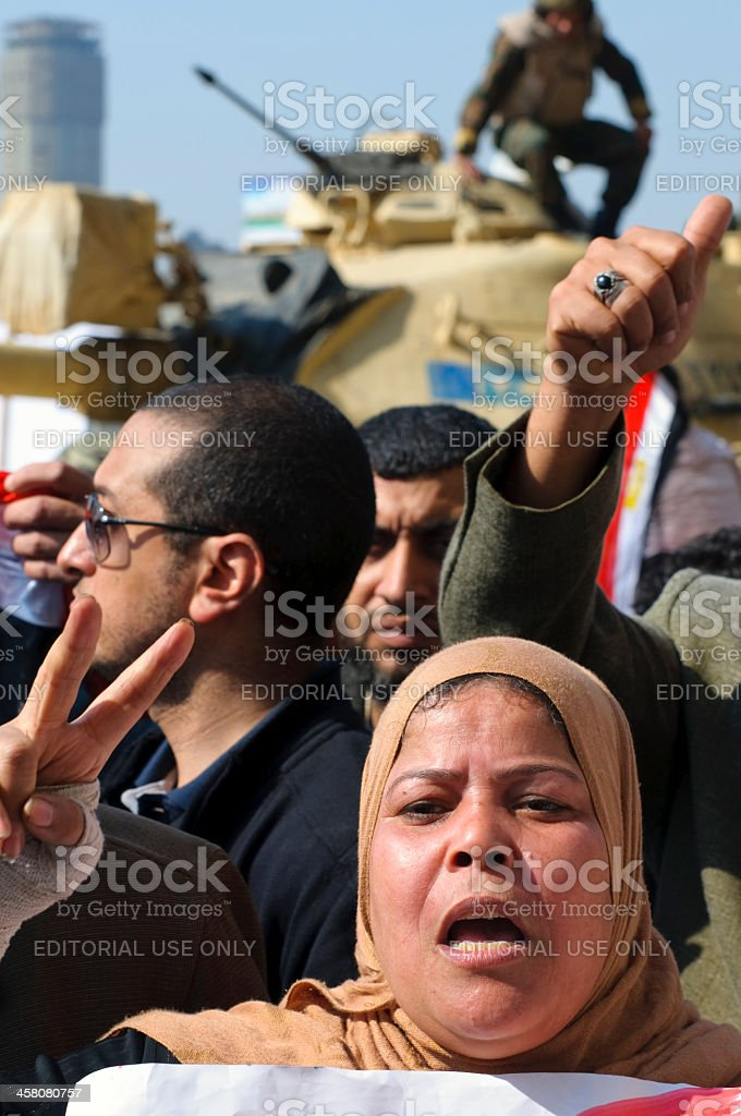 Pro-Mubarak demonstrators in Cairo, Egypt stock photo
