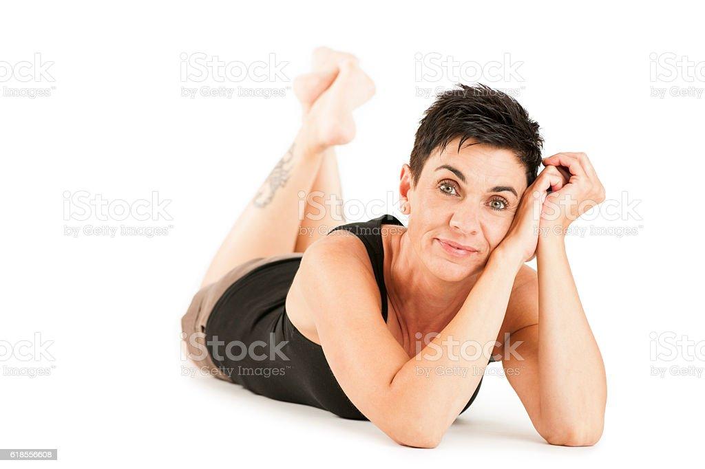 Prone position on white friendly stock photo