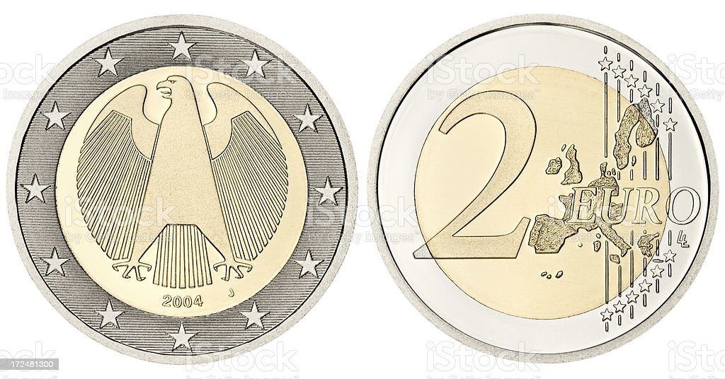 Proof Euro Coin with clipping path on white background royalty-free stock photo