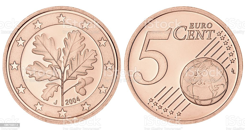 Proof Euro Five Cent Coin on white background stock photo