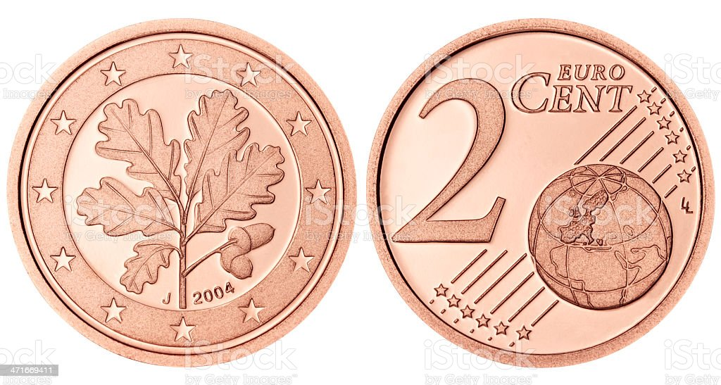 Proof Euro Two Cent Coin on white background stock photo