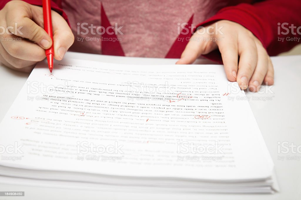 Proof reader working stock photo