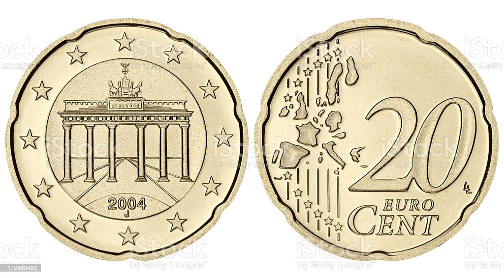 Proof Twenty euro cents coin on white background stock photo