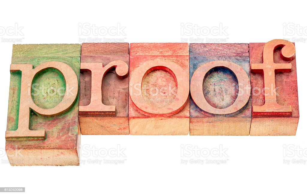proof word abstract stock photo