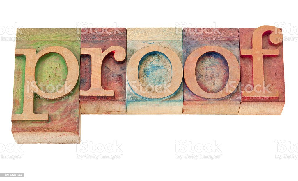 proof word in letterpress type royalty-free stock photo