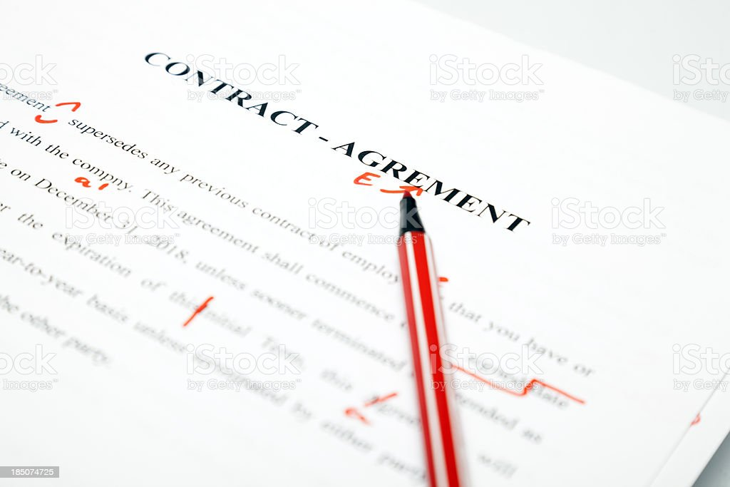 Proofreaded contract stock photo