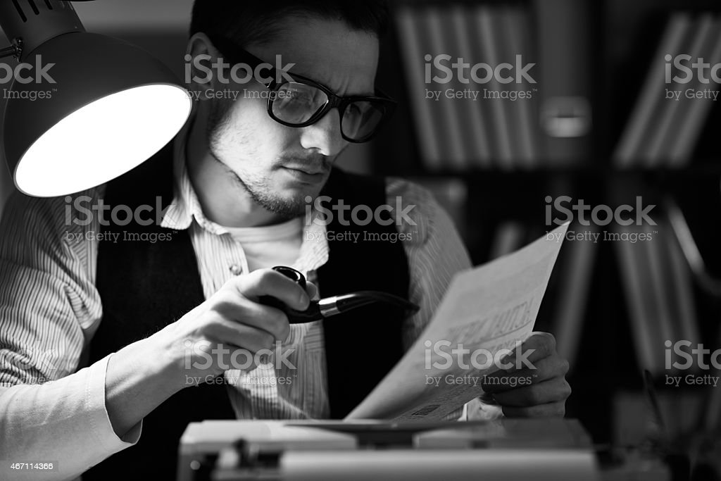Proofreading an article stock photo