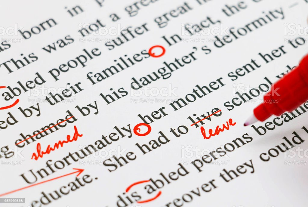 proofreading english document stock photo