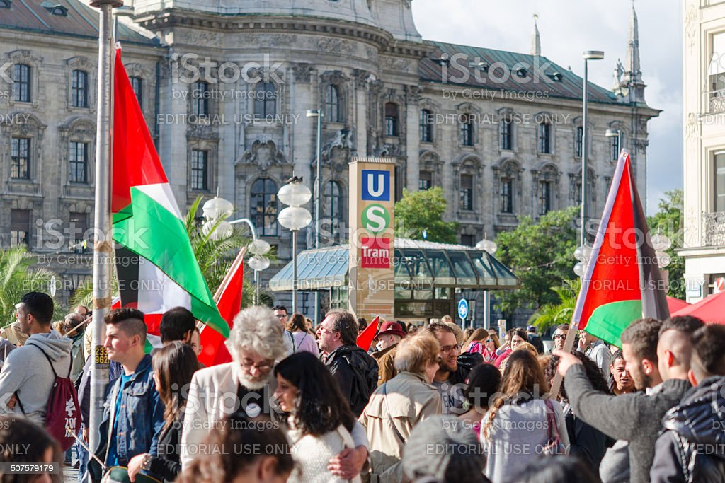 Pro-Palestinian activists at the demonstrations stock photo