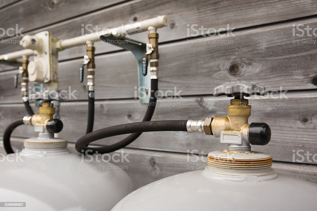 Propane gas equipment for residential stock photo