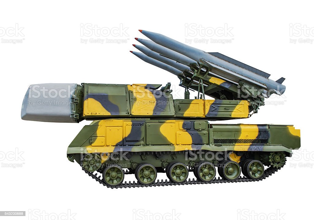 Propelled fire setting 9А310 anti-missile system 9К37 Buk made stock photo