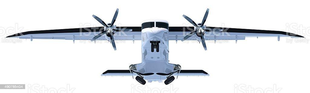 Propeller aircraft (Dornier Do 228) after take off retracting gear stock photo