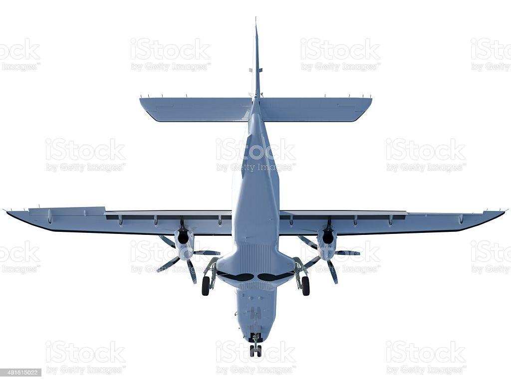 Propeller aircraft (Dornier Do 228) from below gear down stock photo