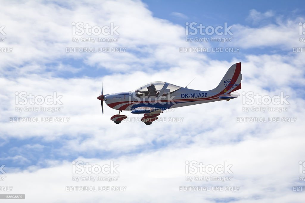 Propeller airplane in Flight royalty-free stock photo
