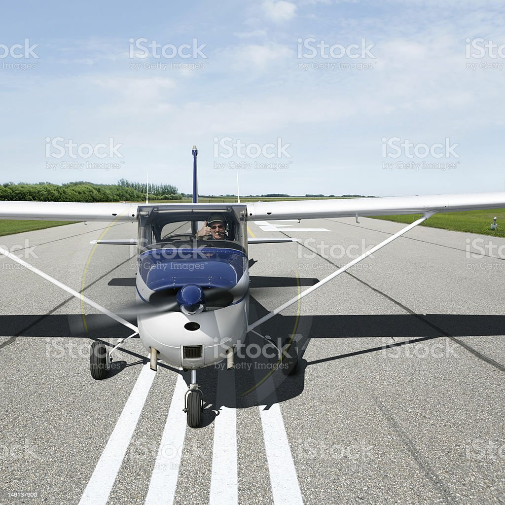 XXXL propeller airplane taking off royalty-free stock photo