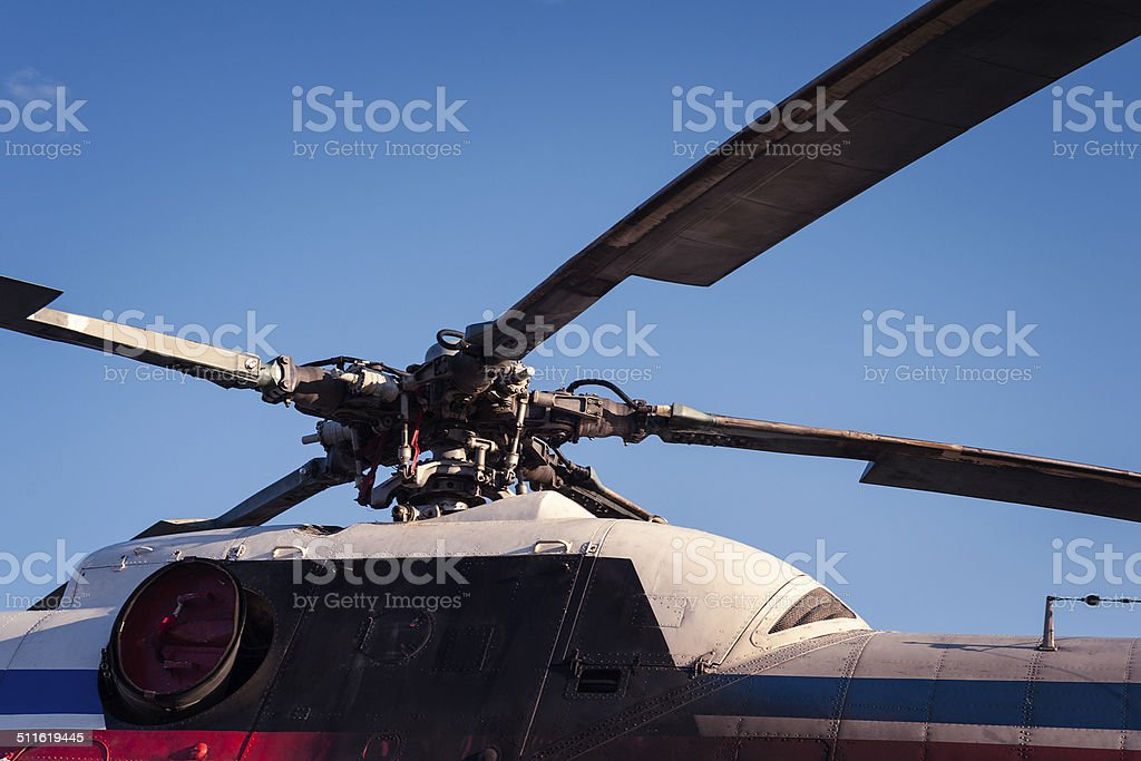 Propeller blade of helicopter stock photo