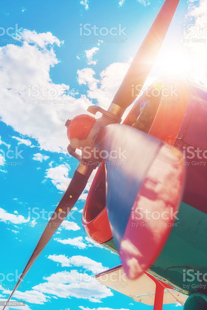 Propeller detail of a colorful airplane at the airport stock photo