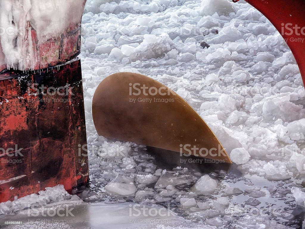 Propeller in Frosted Sea stock photo