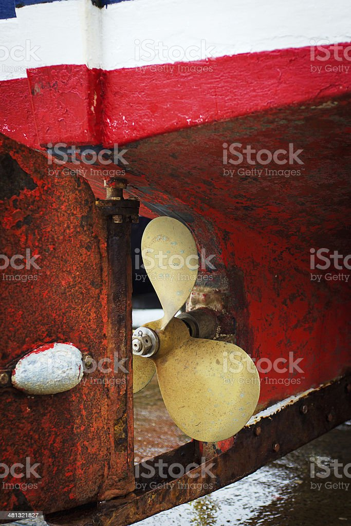 Propeller on a working Fishing boat royalty-free stock photo
