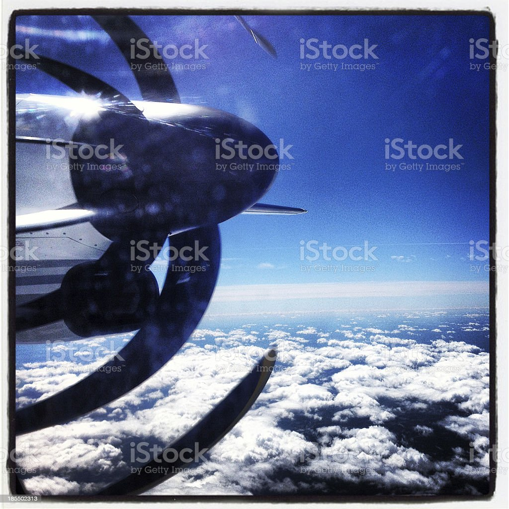 Propeller Over The Clouds royalty-free stock photo