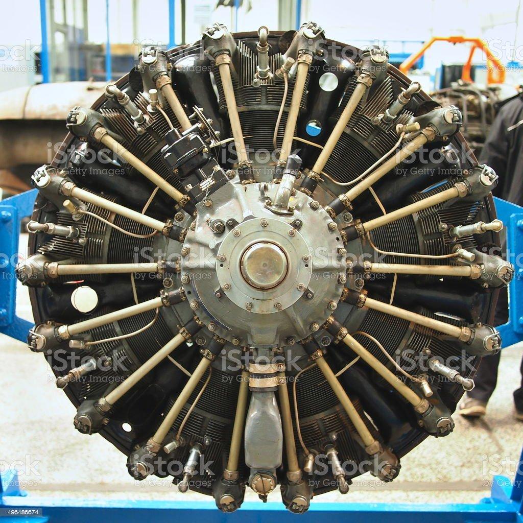 Propeller plane engine stock photo
