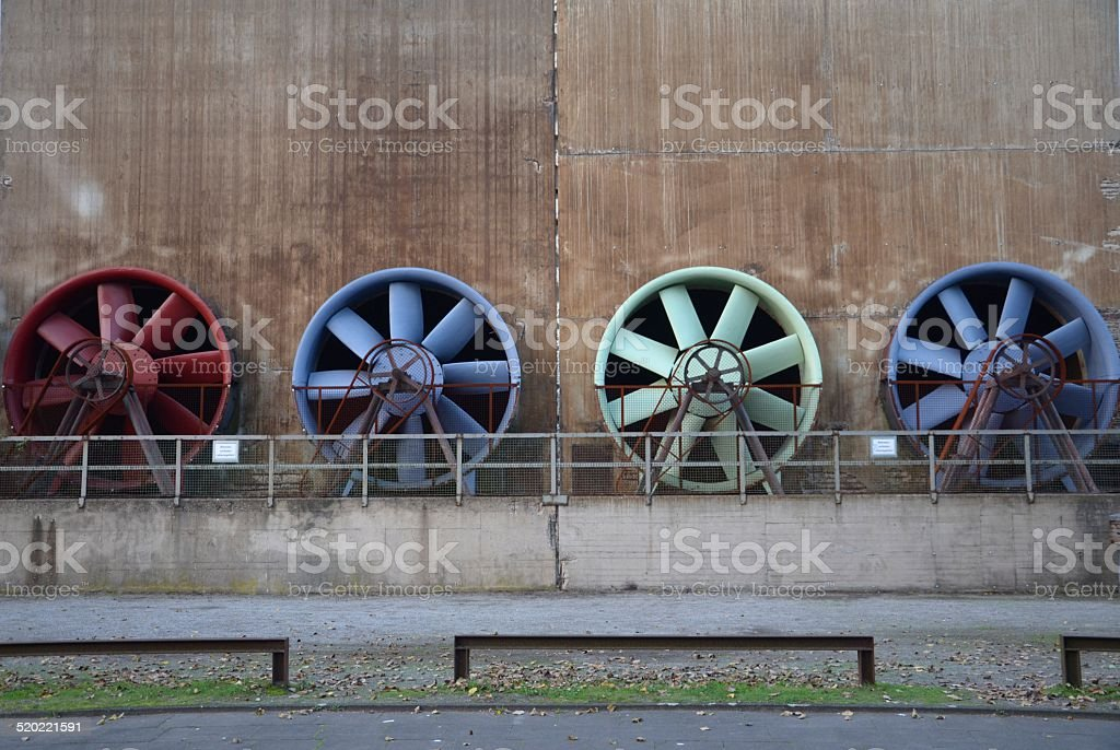 Propeller, propeller blades, industrial propeller, Landschaftpark Duisburg stock photo