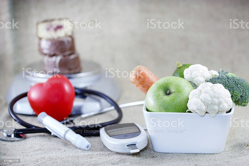 Proper and balanced diet to avoid diabetes stock photo