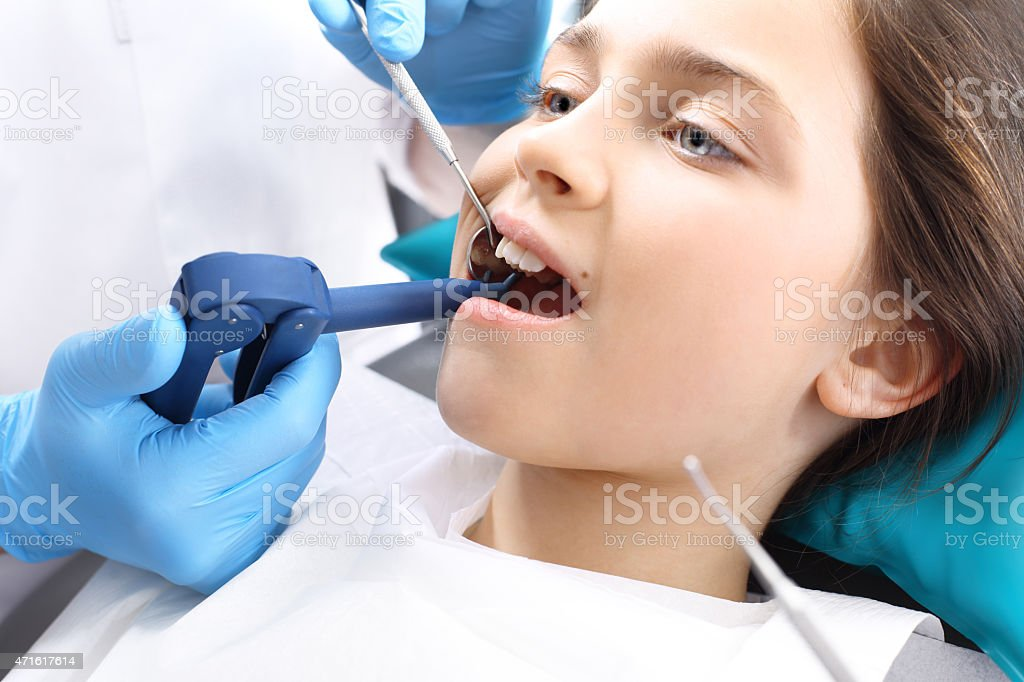 Proper brushing, child dentist stock photo