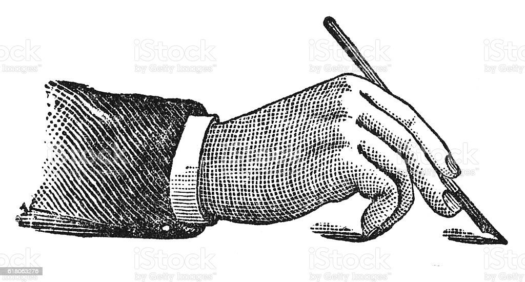 Proper mode of holding the pen (antique engraving) stock photo