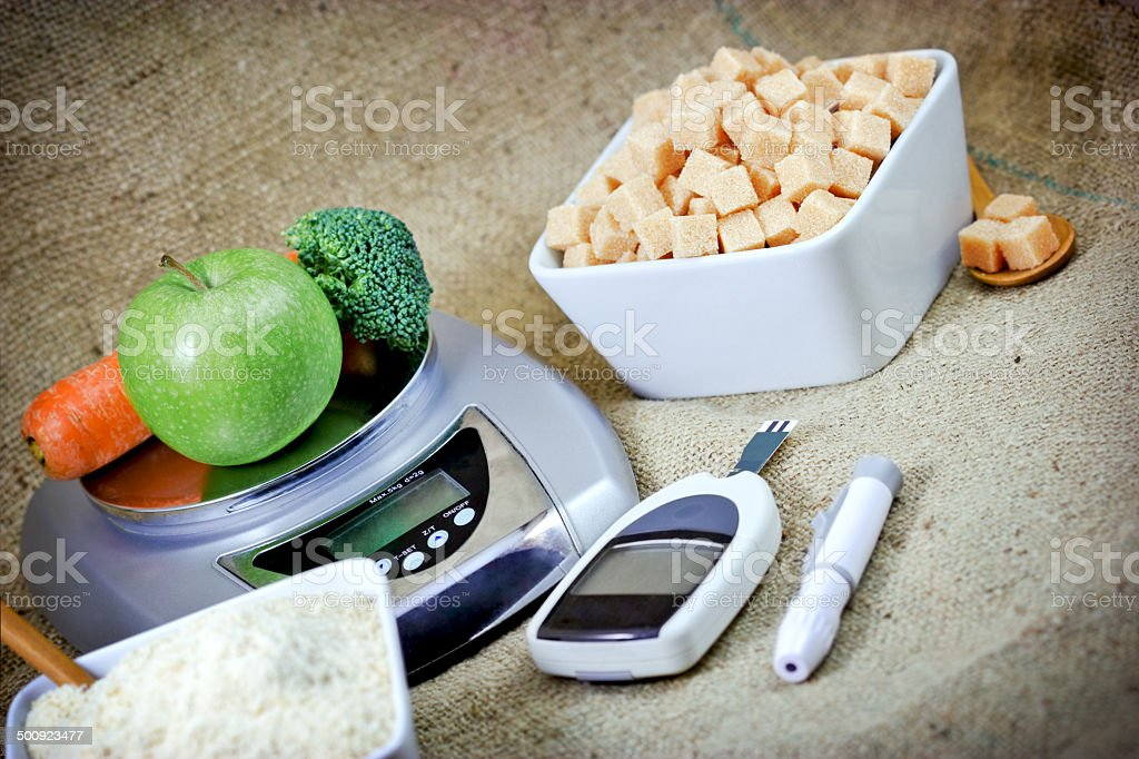 Proper nutrition to health without diabetes stock photo
