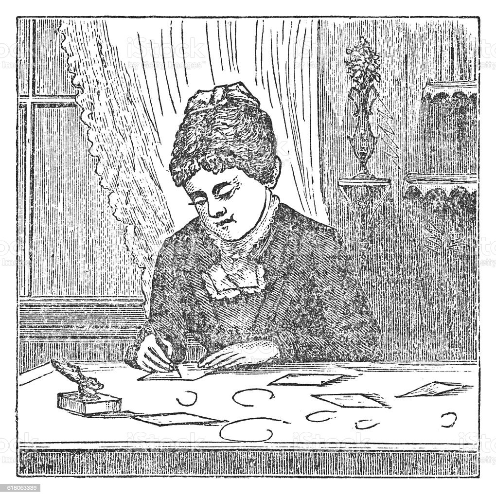 Proper position of a lady in writing (antique engraving) vector art illustration