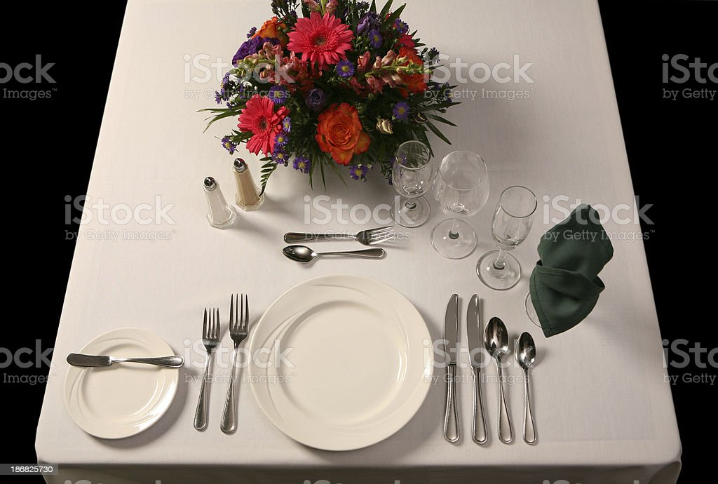 Proper Table Setting for special dinner  events. stock photo