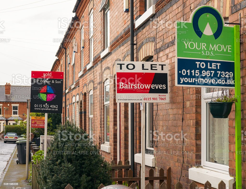 Property agent signs in England stock photo