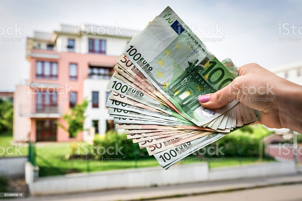 Property buyer holding euro banknotes - real estate concept stock photo