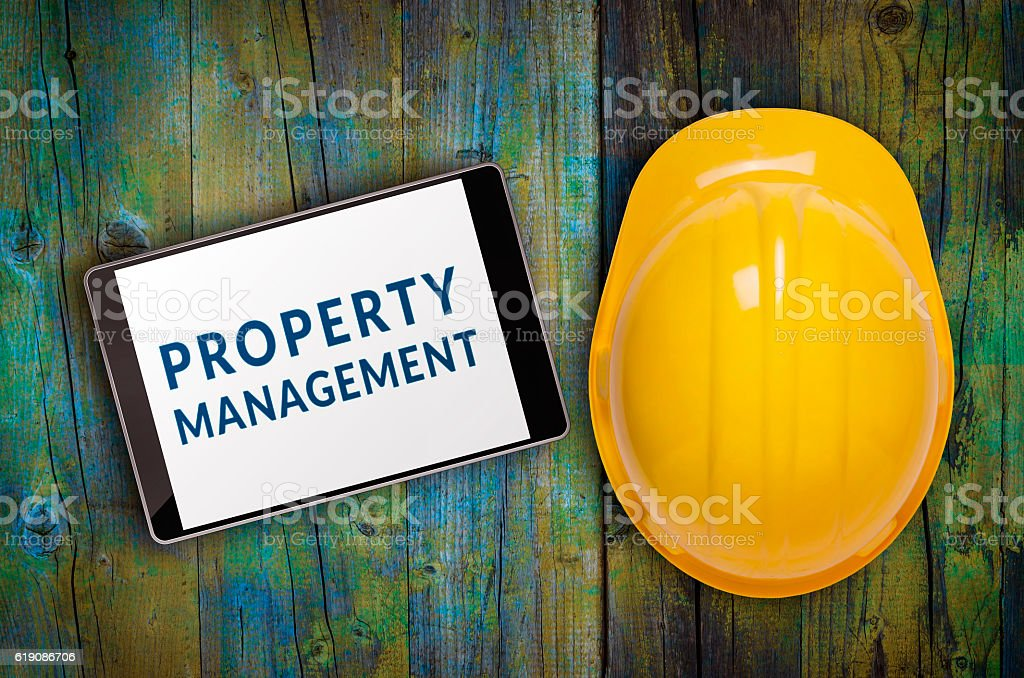 Property management concept displayed on tablet pc stock photo