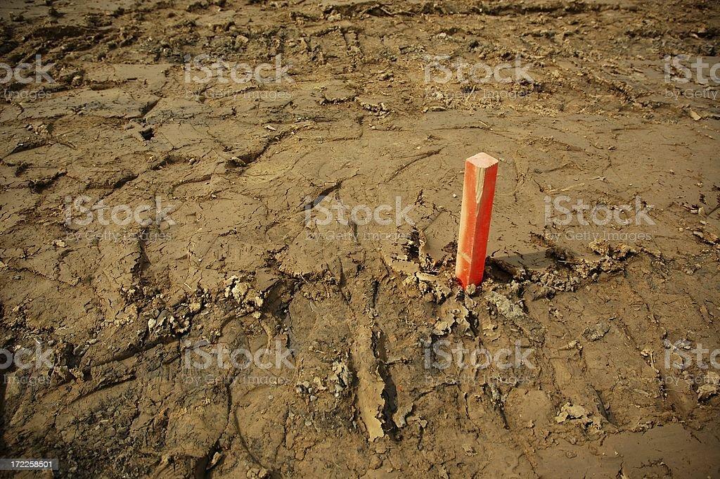 Property Marker on Graded Construction Lot stock photo