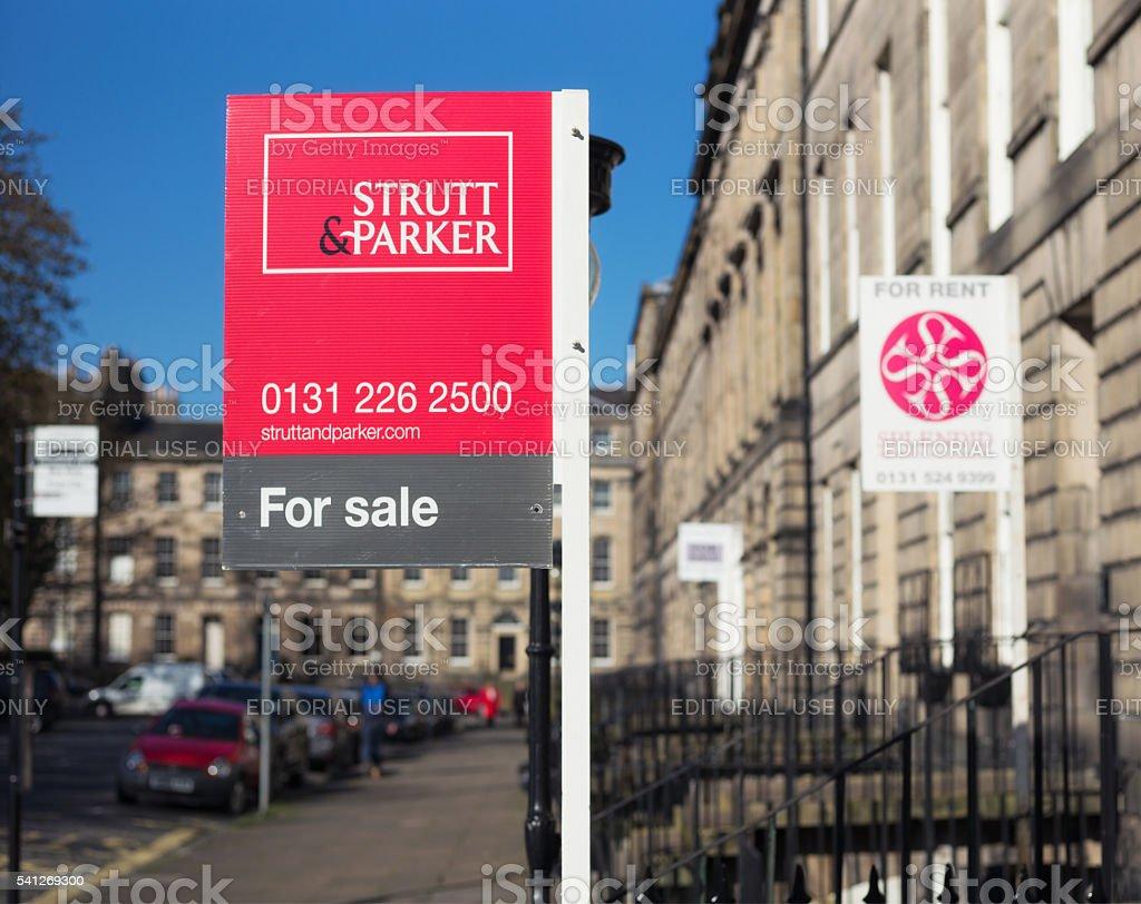 Property marketing signs in Edinburgh, Scotland stock photo