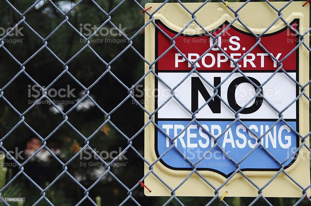 US Property No Trespassing royalty-free stock photo