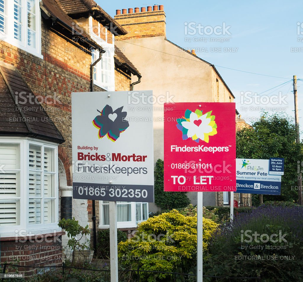Property signs in Oxford, England stock photo