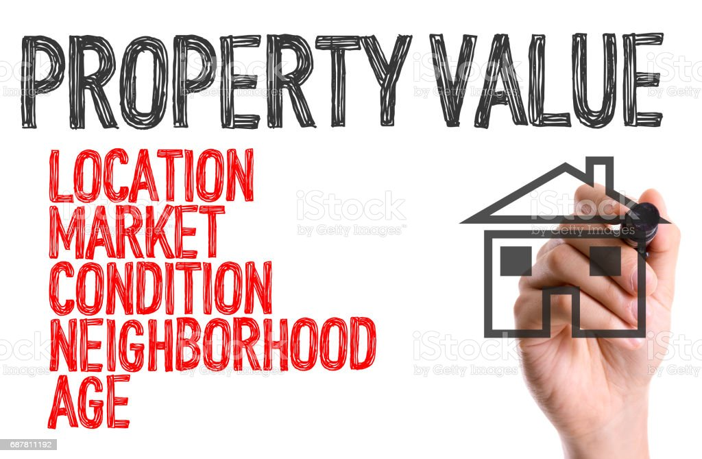 Property Value sign stock photo